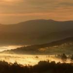 laliki, mgla widok, koniakow, wschód słońca